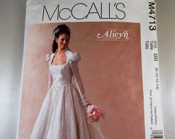 Wedding Gown Bridal Sizes 8-14 New UNCUT Craft Sewing Pattern Mccalls 4713 Adult Sizes