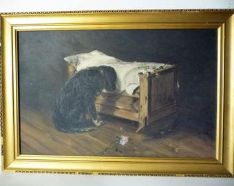 """Antique American Oil Painting, Death of a Child, Mourning Black Labrador, by Gustave Henry Mosler, American Painter """"The Lost Playmate"""" 1904"""
