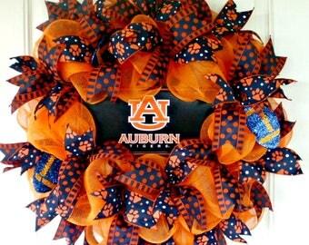 Auburn Wreath, Auburn War Eagles Wreath, Mesh Wreath,War Eaagles Wreath, Football Wreath, College Wreath, Collegiate Wreath, Door Wreath