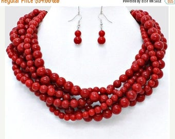 Red necklace, silver closure, twisted, multi strands, statement, bib, handmade gift idea,