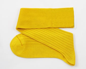 Lemon Yellow Men Over The Calf New Ribbed %100 Cotton Lisle Casual Dress Socks Funny Socks