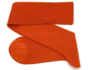 Perfect Color Orange Men Over The Calf New Ribbed %100Cotton Lisle Casual Dress Solid Socks