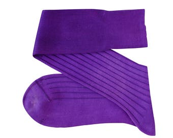 Purple Men Over The Calf New Ribbed %100 Cotton Lisle Casual Dress Socks
