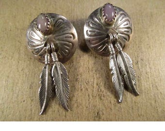 Vintage sterling silver Concho Feather earrings