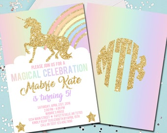 Unicorn Birthday Invitation, Unicorns, Birthday Invitation, Birthday, Invitation, 1st Birthday, Rainbow, Gold, Printable 5x7