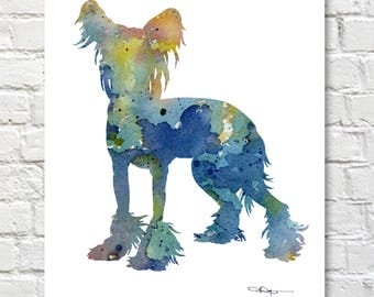 Chinese Crested Art Print - Abstract Watercolor Painting - Wall Decor