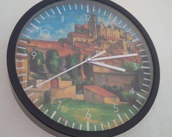 clock wall art reproduction of Cézanne gardanne retro pattern