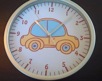 clock wall child patterns yellow car