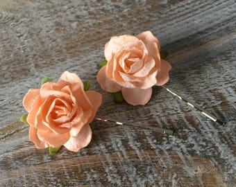 Peach Rose Hair Clips, Peach Bridal Hair Slides, Wedding Hair Accessories, Bridal Hair slide, Mulberry Rose Hair Clip, Flower Girl hair clip