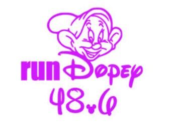 run dopey decal, marathon decal, 48.6 decal, running sticker,  half marathon decal, run disney, princess decal, princess run, 26.2 decal