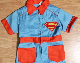 Vtg 1970s Superman One-Piece Toddler Jumpsuit Romper - Approx Sz 2T
