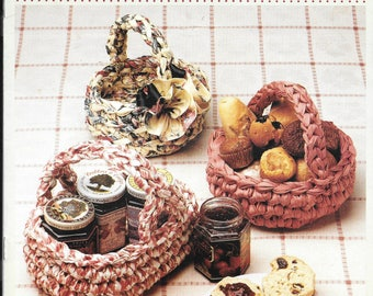 Crochet pattern by McCall for baskets made from material / fabric