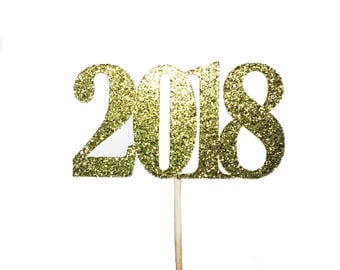 Gold 2018 Cupcake Toppers, New Years Eve Cupcake Toppers, New Year Cupcake Topper, celebration cupcake toppers, Gold Party Decorations