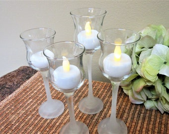 Glass Candle Holders Crystal Votive Partylite  Home Decor  Clear Frosted lot of 4 blm