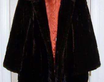 Vintage Fur Coat, Brown Faux Fur, Women's Fur Coat, Movie Theater Costume Prop, Vintage Clothing, Mid-Century