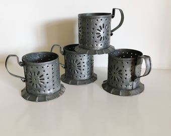 Vintage Punched Tin Votive Candle Holders, by Pfaltzgraff, USA  Set of 4