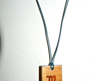 Wooden letter R theban alphabet necklace