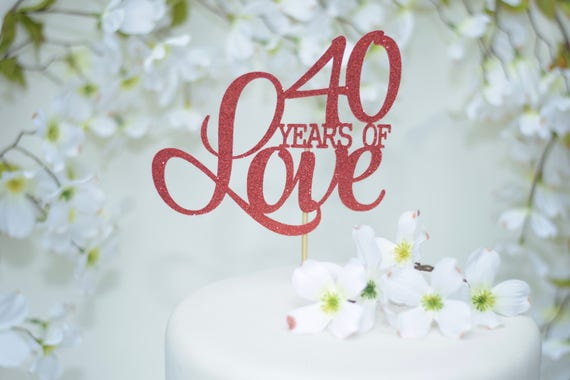 40th Wedding Anniversary Cake Topper Red Cake Topper Ruby - Ruby Wedding Cake Toppers