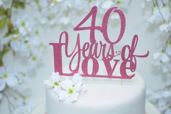 40th Wedding Anniversary Cake Topper Red Cake Topper 15th - Ruby Wedding Cake Toppers