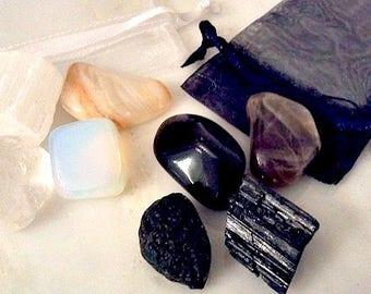 New Moon, Full Moon Crystal Set, Healing Moon Crystals,  Crystals for Moon, New Moon Full Moon Crystal Kit, Moon Crystals Moonstone, Quartz