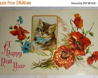 ON SALE Sweet Kitten With Red Poppies U/S Helena Maguire Antique New Year Postcard