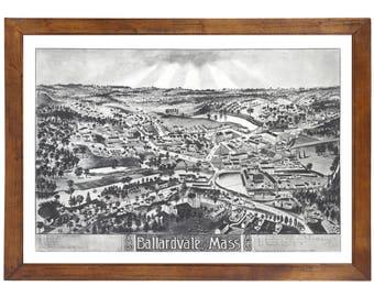 Ballardvale, MA 1885 Bird's Eye View; 24x36 Print from a Vintage Lithograph