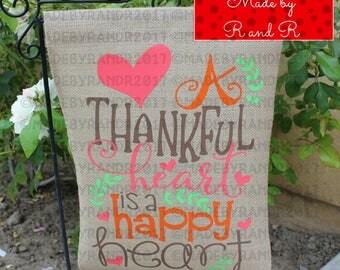 A Thankful Heart Is A Happy Heart Burlap Garden Flag | Fall Flag | Burlap Garden Flag | Fall Garden Flag | Yard Art | Garden Decor