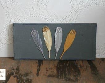 Feather Sign / Boho Sign / Hippy Decor / Feather Wood Sign / Bohemian Decor / Hippy Home Decor / Feathers / Feather Decor / Gray Wood Sign