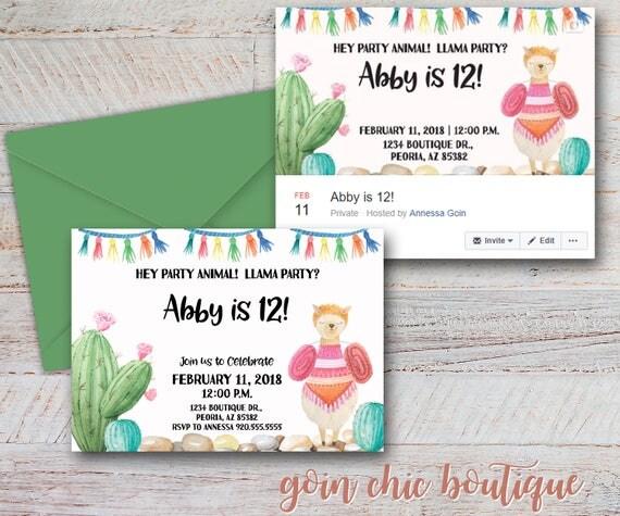 Llama birthday party invitation facebook cover girl llama party il570xn stopboris Image collections