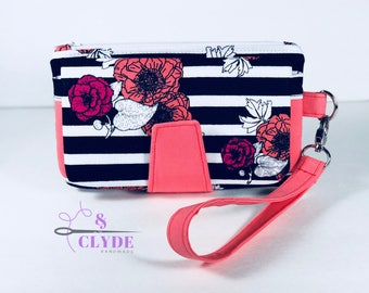 Floral and Stripes Swoon Wallet Clutch Wristlet, Swoon Purse