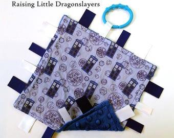 Ribbon tag blanket made w/ Doctor Who TARDIS print, infant sensory toy