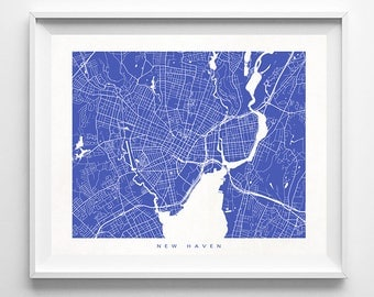 New Haven Map, Connecticut Print, New Haven Poster, Connecticut Art, Dorm Wall Decor, Office Decor, Nursery Posters, Valentines Day Gift