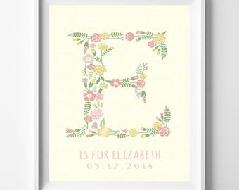 Nursery Name Print, Baby Artwork, Children Room, Estelle, Effie, Elise, Ellie, Eliana, Elisa, Alphabet, Monogram Art, Valentines Day Gift