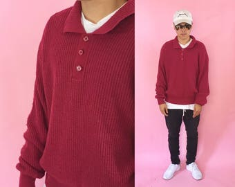 Vintage knit sweater collared sweater polo shirt long sleeve knit 1990s 1980s red maroon 90s 80s