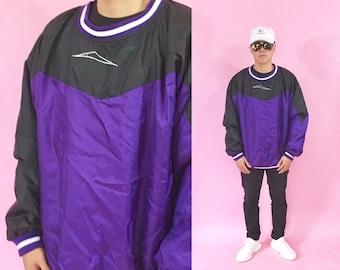Vintage windbreker Reebok windbreaker pullover size Large 90s 80s shell jacket nylon jacket 1990s 1980s