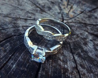 Infinity Anniversary Promise Wedding Band Set for Women, Engagement Ring Bridal Sets 925 Sterling Silver