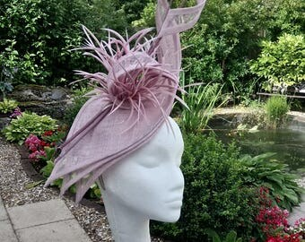 Pink hatinator. Occasion headpiece, wedding Fascinator, Mother of the Bride Hat, Royal Ascot Fascinator, Ladies Day Hat, Lilac Fascinator