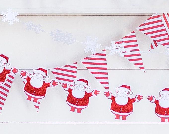 Santa Garland, Santa Claus Banner, Christmas Banner, Red Glitter Santa Claus Banner, Merry Christmas Banner, Santa Claus, hyp406
