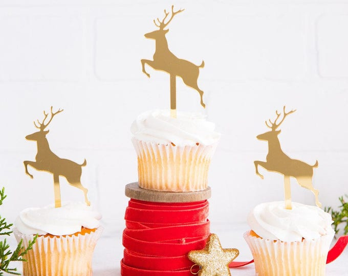 Reindeer Cupcake Topper, Christmas Toppers, Holiday Cupcake Topper, hyp411, Deer Christmas Decor, Merry Christmas