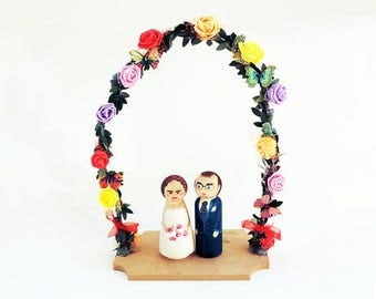 Figurines cake arched flower / Cake topper wedding cake wood / Cake toppers wedding / Subject wedding - To customize