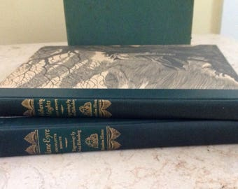 1943 Jane Eyre by Charlotte Bronte & Withering Heights by Emily Bronte Set