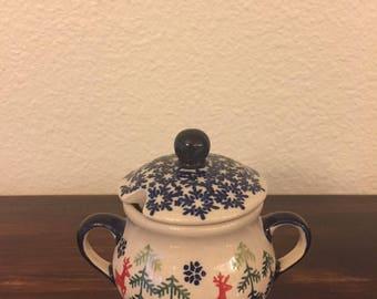 Polish Pottery Sugar Bowl / Condiment Server