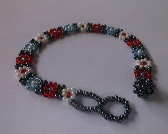Vintage Boho Glass Flower Beaded Bracelet, White, Red, Grey, Light Blue beaded Flower bracelet, Adjustable