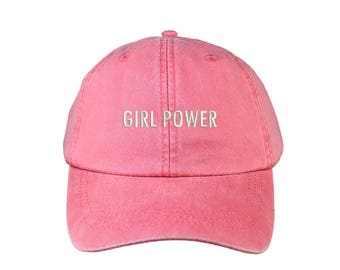 """GIRL POWER Washed Dad Hat, Embroidered """"Girl Power"""" Feminism Hat, Low Profile Girl Gang Feminist Baseball Cap Hat, Coral"""