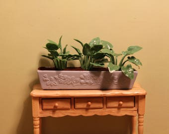 DOLLHOUSE MINIATURE Garden Planter/Pot Large Dark Green Ferns