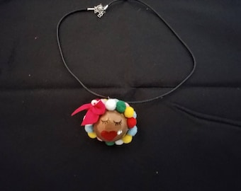 African American Wooden Art Doll Necklace