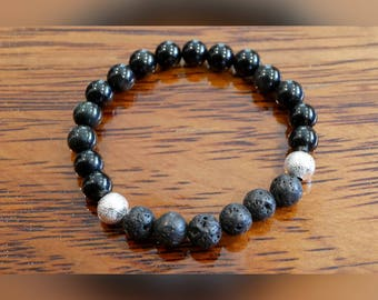 Genuine Black Agate Gemstone Bracelet with Lava Beads