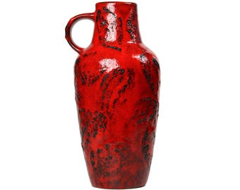 Large Red Pitcher Vase, URSULA BEYRAU 615-1 for Gräflich Ortenburg / West German Pottery / Mid Century Modernist Fat Lava Ceramics