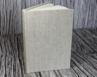 Handmade A6 linen notebook – fully bound natural oatmeal linen cloth