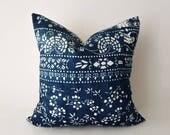 Authentic Antique Chinese Indigo Batik Pillow